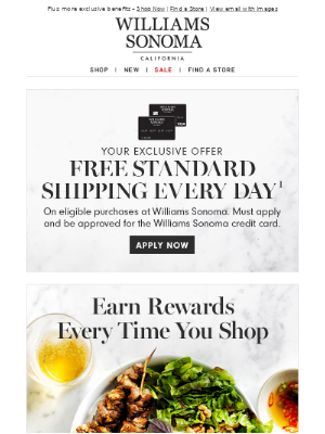 Start earning rewards with the Williams Sonoma Credit Card