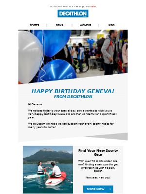 Decathlon (UK) - 🎂 Happy Birthday Geneva!