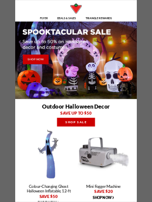 Canadian Tire (CA) - Halloween Sale! Save up to 50% on costumes and decor.