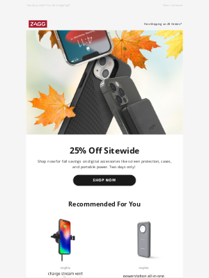 ZAGG - Fall Sale | 25% Off Sitewide