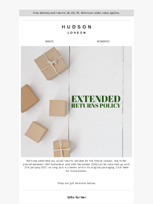 Hudson Shoes - Gifts for Her | Extended returns policy