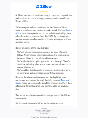 Zillow - We've updated our Terms of Use