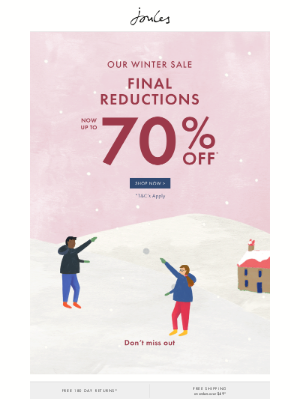 Joules (UK) - Final Winter Sale reductions - now up to 70% off