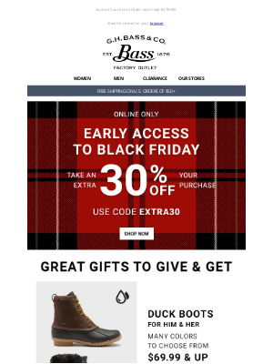 G.H. Bass & Co. - Early Access to Black Friday Starts Now - EXTRA 30% OFF
