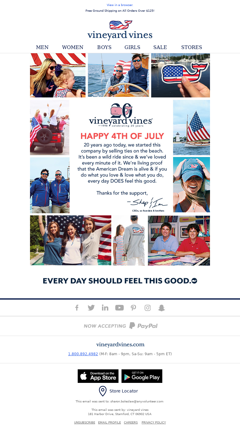 Email example design for 4th of July sent by Vineyard Vines