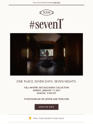 TOD'S - Save The Date: #sevenT, the film from the FW 21/22 Men's Collection
