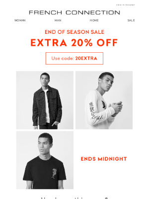 Extra 20% off sale | Ends midnight