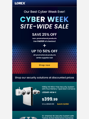 Lorex Technology - These Cyber Week Security Deals Won't Last