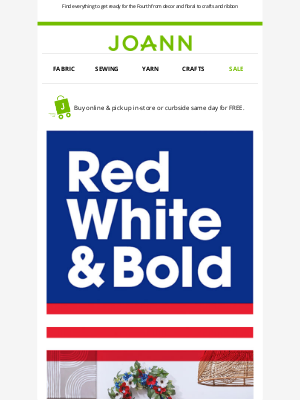 Joann Stores - Save up to 50% on red, white & blue decor and more