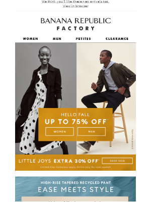 Banana Republic Factory - Final Hours: Up to 75% off + extra 30% off