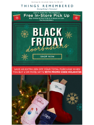 Things Remembered - 25% Off Holiday Stockings + Free Embroidery