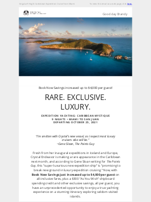 Crystal Cruises - A Rare Opportunity, Now with Savings up to $4,000