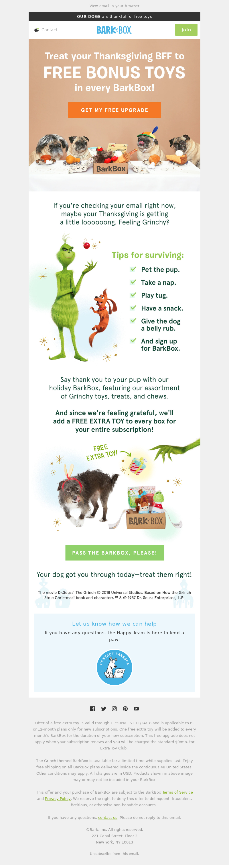 Funny Thanksgiving email from Backshop