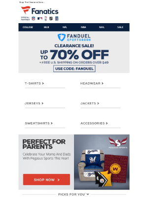 Fanatics - TODAY ONLY! Up To 70% Off