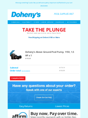 Doheny's Pool Supplies Fast - Your Pool Will Thank You
