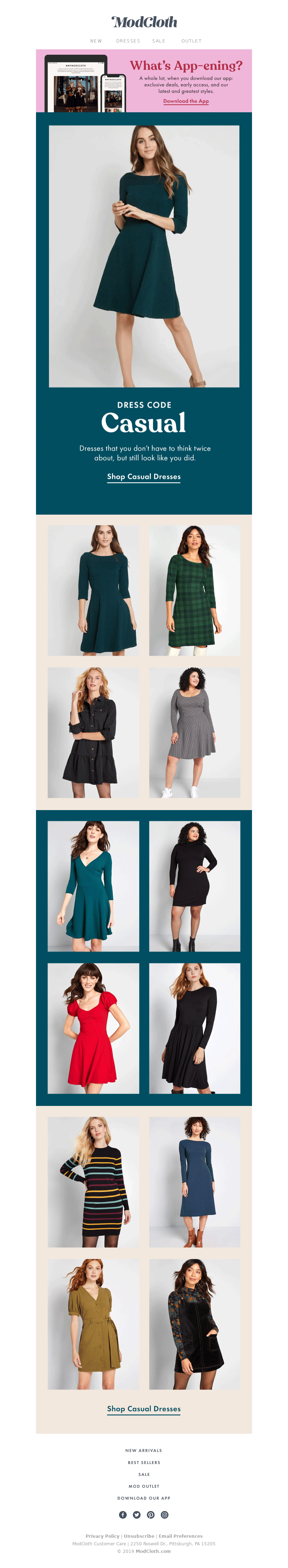 Fashion brand email idea from Modcloth