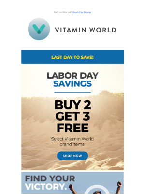 Vitamin World - 🚨 Buy 2 Get 3 Free Sale Ends Tonight! 🚨