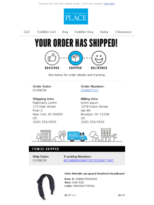 The Children's Place - Your order 224667513 has shipped!