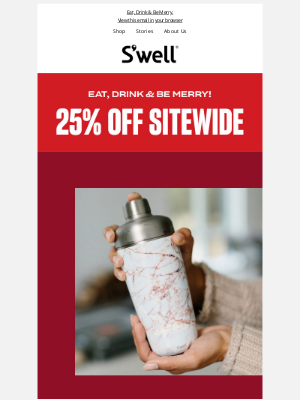 S'well Bottle - Cyber Week Starts Now! 25% OFF Sitewide
