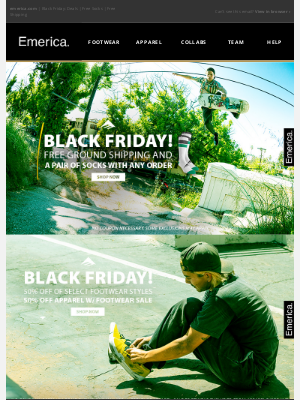 Emerica - Black Friday Access is Here! Free Socks & Shipping!