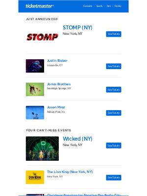 Ticketmaster - Jonas Brothers, STOMP (NY), Justin Bieber & more near you!
