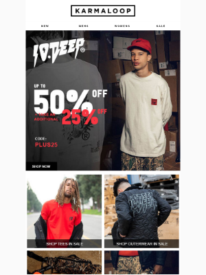 Up to 50% Off 10 Deep + Additional 25% Off