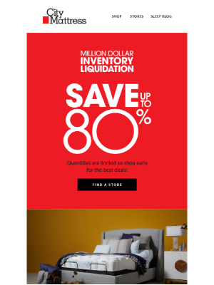 City Mattress - Save up to 80% during the Million Dollar Inventory Liquidation