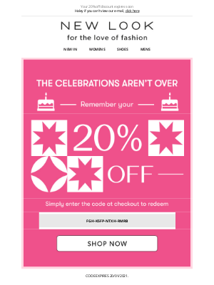 New Look (UK) - LAST CHANCE: use your 20% off before it's too late
