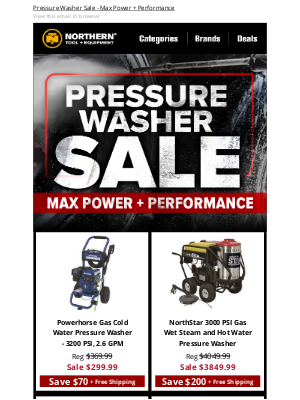 Northern Tool + Equipment - Deal Alert: Pressure Washer SALE!