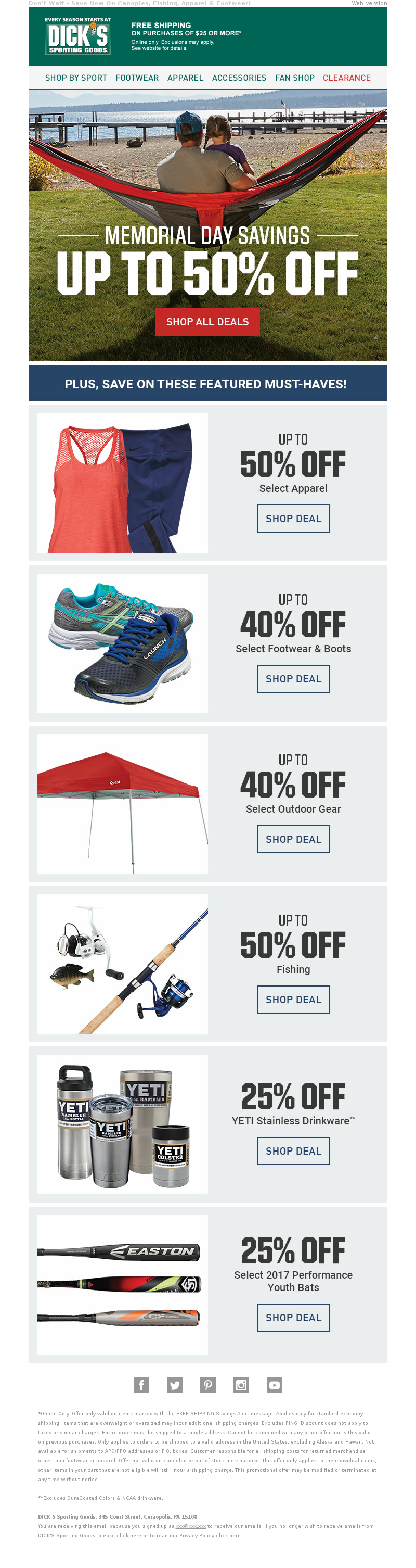 Don't Wait – Save Now On Canopies, Fishing, Apparel & Footwear! Web Version