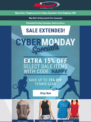 Midwest Sports - CYBER Sale EXTENDED. Last Day To Save Up To 75% Off Tennis Gear