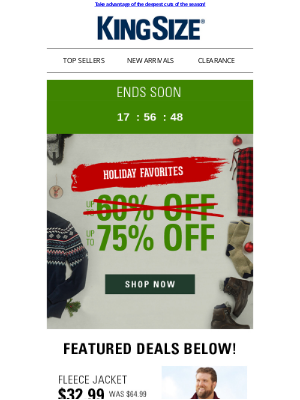 King Size Direct - Last day! Up to 75% off the holiday's best!