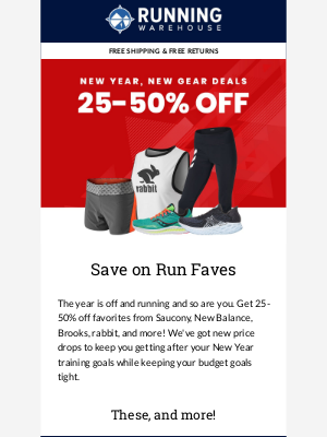 Running Warehouse - 25-50% Off Select Gear from New Balance, Saucony, rabbit, and more!