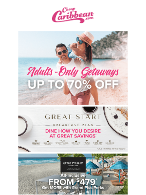 Adults-only getaways up to 70% off