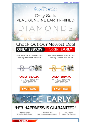 SuperJeweler - Big Fiery Diamonds From Mother Earth. Yep, Real Don't Miss