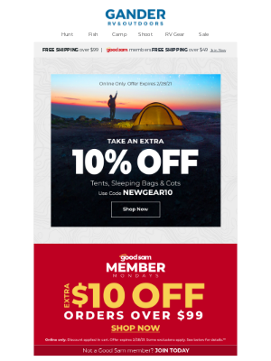 Gander Mountain - Save an EXTRA 10% on Sleeping Bags, Tents & More!