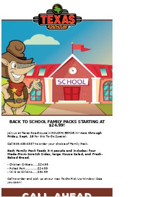 Texas Roadhouse - Back To School Family Packs Inside!