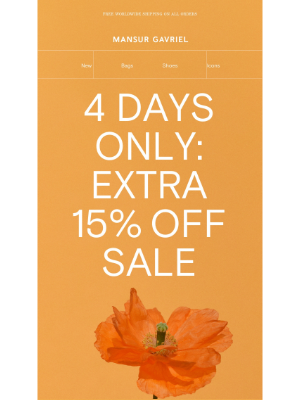 Mansur Gavriel - 4 days only: extra 15% off Sale