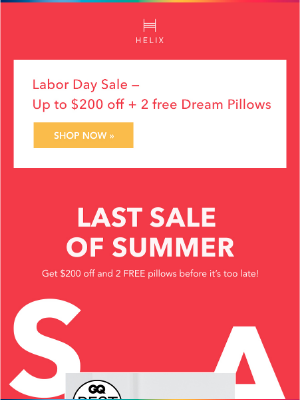 Helix Sleep - Gabrielle...time is running out ⏳ Save up to $200 off and get 2 FREE pillows