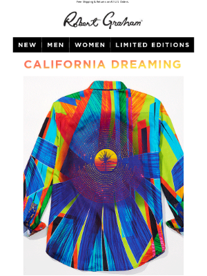 Robert Graham - NEW Limited Edition: Cali Sunset Hand Embroidered + Vivid Colors