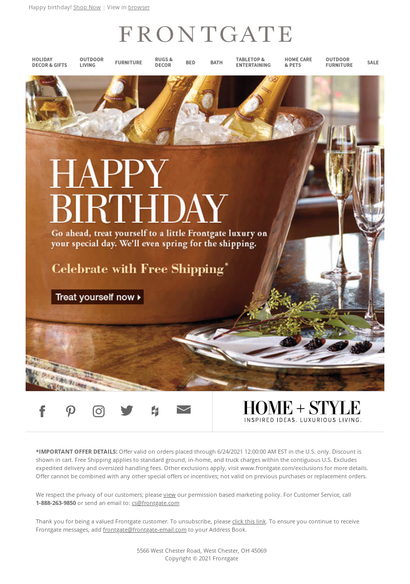 Frontgate - Happy Birthday from Frontgate