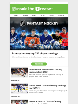 NHL - Catch up on all the latest Fantasy rankings and news before the season starts!