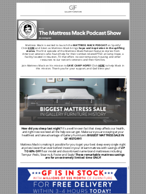 Gallery Furniture - You're Invited to the Mattress Mack Podcast Show!