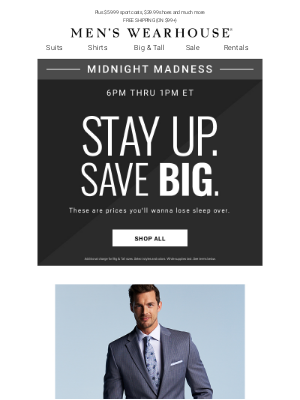 Midnight Madness Alert: $79.99 suits & $24.99 pants