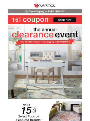 ✉ NEW MESSAGE! Free Shipping COUPON! The Annual Clearance Event Deals Are HERE!