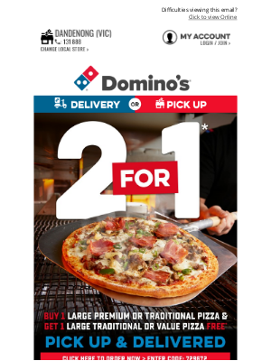Domino's Pizza Enterprises (AU) - Double The Delight 🍕 🍕 2 - 4 - 1* Tuesday!