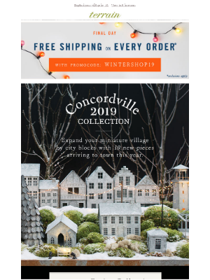 FREE ship final day + NEW Concordville pieces.