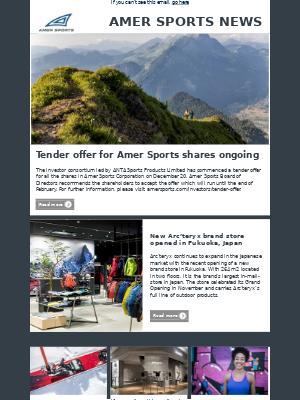 Amer Sports - Amer Sports Investor Relations Newsletter December 2018