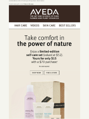 Aveda - Take comfort in the power of nature. Self-Care Set for $15