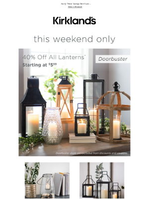 Kirkland's - One Weekend Only - 40% OFF Lanterns + Free Shipping!!